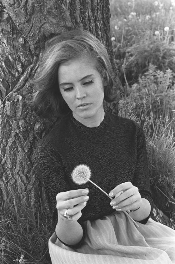Missi Ritva Palukka kukkakedolla Vantaanjoen varrella, vuosi 1965.