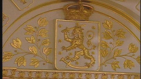 Presidentin linna: Suomen vaakunan leijona. Kuva: YLEn kuvanauha/1997