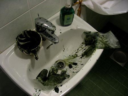 ... Ja vessa se vasta vihreä olikin.