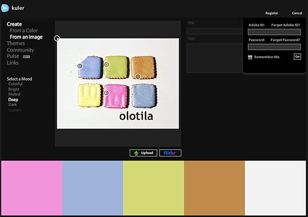 Adobe Kuler kuvankaappaus