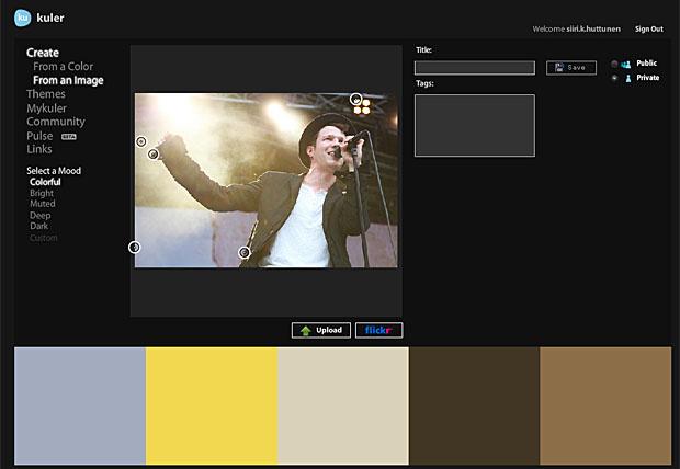 Adobe Kuler -kuvakaappaus