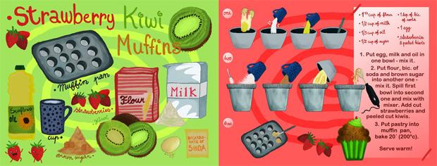 Strawberry Kiwi Muffins by Mary Szomju, They Draw and Cook