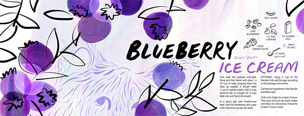 Blueberry Ice Cream (non dairy!) bu Sarah Ferone, They Draw and Cook