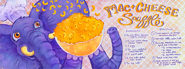 Mac + Cheese Souffle by Sara Wasserboehr, They Draw and Cook