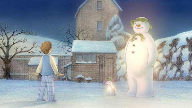 Lumiukko ja lumikoira. Yle Kuvapalvelu