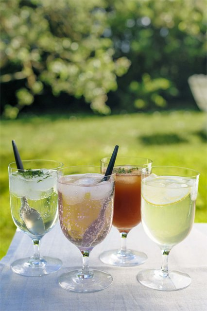 Purtavaa Pohjolasta: Seljankukka-, syreeninkukka-, tuomenkukka- ja omenamehu. Kuva: Purtavaa Pohjolasta: Linus Lindholm