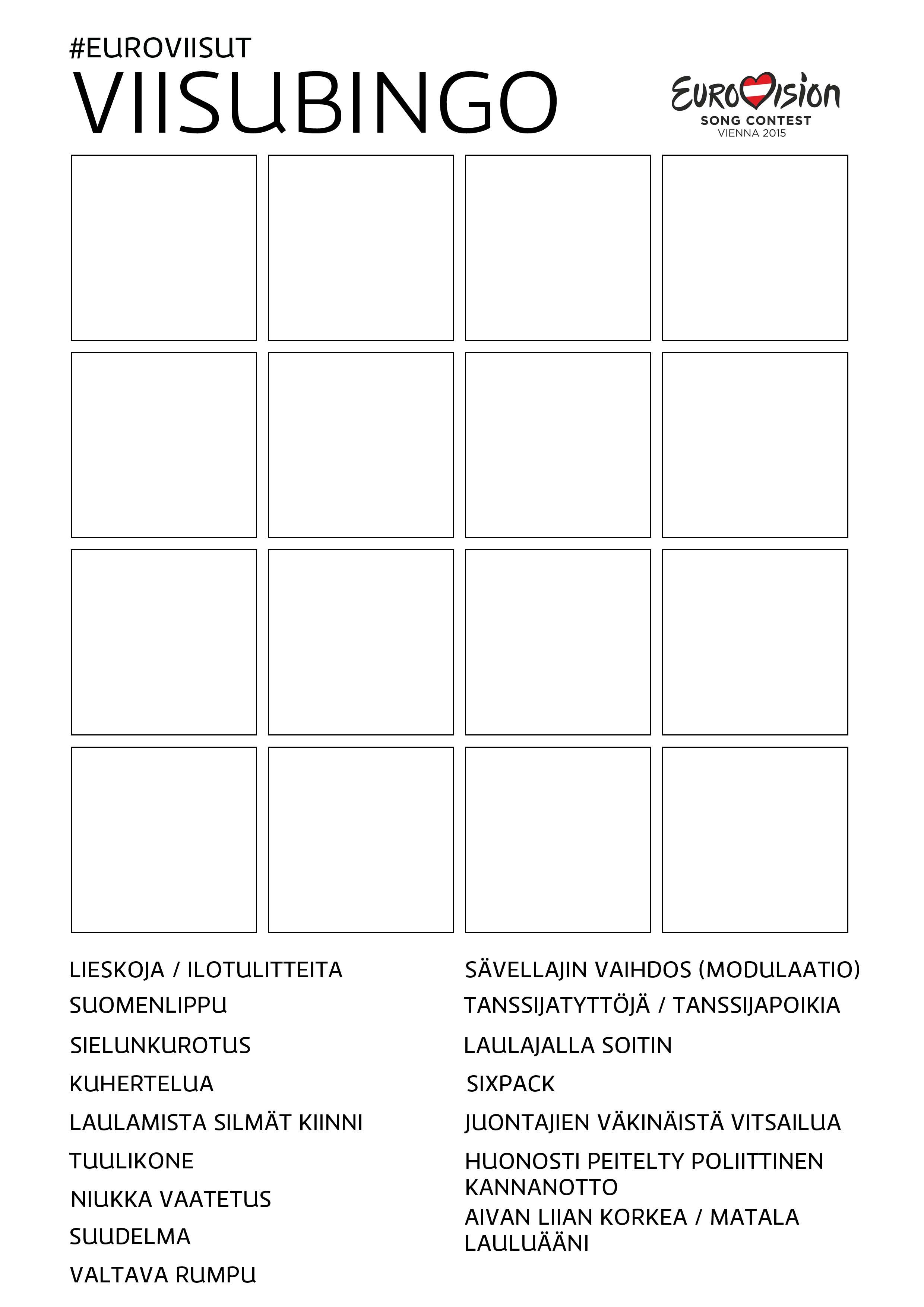 Euroviisu Bingo