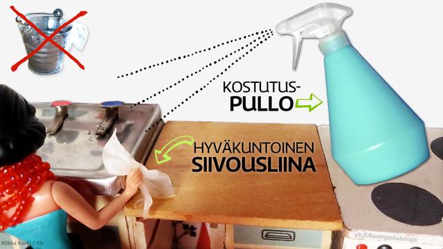 Kostutuspullo ja liina. Kuvitus: Riikka Kurki / Yle