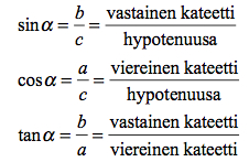 Trigonometriset funktiot muistisääntö